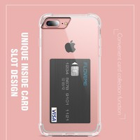 KISSCASE Crystal Clear Card Slot Anti-knock Case for iPhone 6 6S Plus for iPhone 7 7 Plus Cases Transparent Silicone Cover Capa