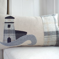 Handmade Lighthouse Cushion, with wool woven in Wales.