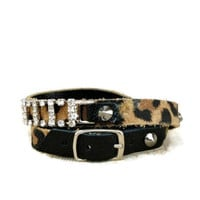 Leopard bracelet, rhinestone leather wristlet, spike stud leather cuff,belt buckle bracelet, wrap leather bracelet