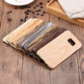 Wooden Phone Cases For Samsung Galaxy S6 edge Plus S7 edge Soft TPU Silicone Silicon Cover