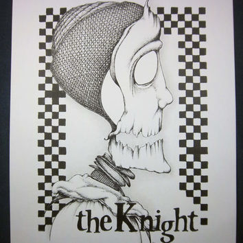 THE KNIGHT - Chess Series: Original art, black and white art, surreal portrait, pen and ink drawing, ink illustration, pen drawing 8x10