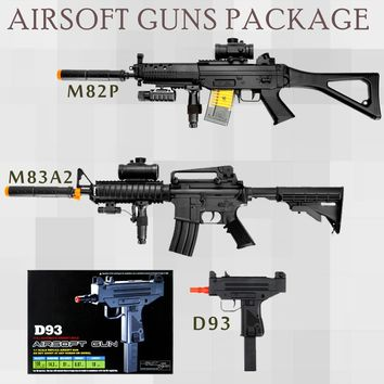 3 Pc M82P + M8Aa2 M4A1 & Uzi Mac 10 SMG AEG Electric D93 Full Automatic Airsoft