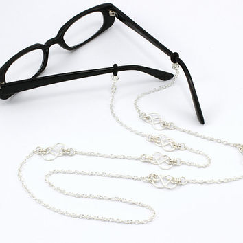 Women's Eyeglass Chain with Celtic Knots, Silver Eyeglass Holder, Eyeglass Holder Necklace, Readers, Beaded Eyeglass Necklace, Gift for HER