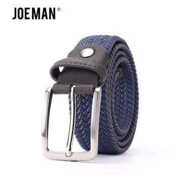 "Mixed Color lastic Stretch Belt Braided Knitted Stretch Belts Elastic Belt Men Woven EWith Covered Buckle1-3/8"" Wide High Qualit"