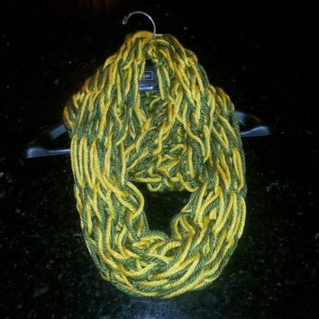 Soft and warm Green and Yellow Arm-Knitted Infinity scarf- Bulky Scarf - Green and Gold Team Spirit Scarf - Infinity scarf