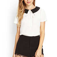 FOREVER 21 Lace-Trimmed Woven Shorts Black