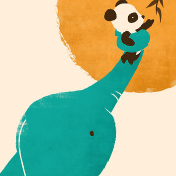 Panda's Little Helper Art Print by Jay Fleck | Society6