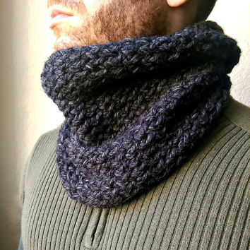 Mens Chunky Cowl, Warm Wool Cowl For Men, Unisex Scarf, Chunky Infinity Scarf, Thick Circle Cowl, Hand Knit Wool Scarf, Bulky Men's Scarf