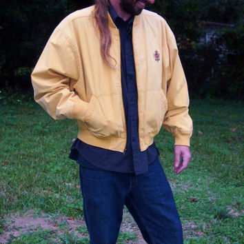 90s Vintage Hunting Horn Preppy Yellow Men's Jacket - size medium