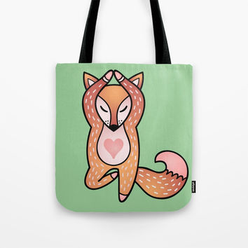 Yoga lover Fox Tote Bag by MIKART