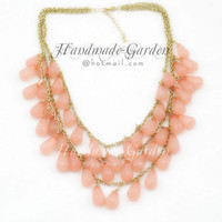 Translucent Salmon Pink - Three Strand Necklace, Stormy Seas Briolette Bib Statement Necklace - GD043A
