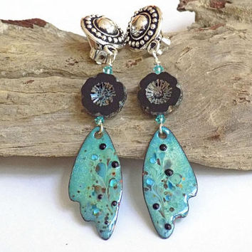 Clip on Dangle Earrings, Turquoise Earrings, Wing Earrings for Women, Handcrafted Jewelry, Blue Drop Earrings, Perfect Gift for Her