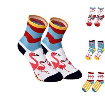Animal Colorful Flamingo Ankle Socks Funny Crazy Cool Novelty Cute Fun Funky Colorful