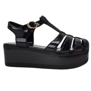 New Women Summer T-Strap Retro Platform Jelly Rain Sandal SNJ SHOES