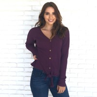 Knit Happens Top in Plum