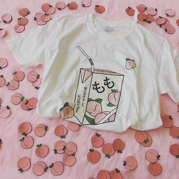 PUDO-JBH Peach Juice Japanses Aesthetic Grunge T-Shirt Women Girls 90s Kawaii White Tee Summer Casual Tumblr Outfit