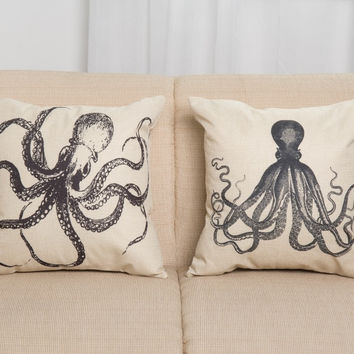 Soft Octopus Cotton Linen Cushion [6046369473]