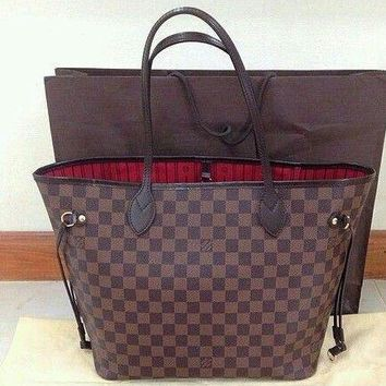 LV tide brand female classic old chess board shopping bag tote bag two-piece Coffee check