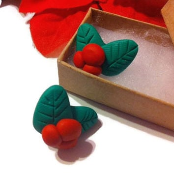 Holly & Berry Post Earrings, Christmas Earrings, Holly, Red and green, gift ideas, stocking stuffers, polymer clay, polymer clay charms,