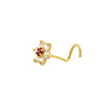 Flower Nose Stud 22G 14k Yellow Gold 5 mm Red and White CZ Nose Screw