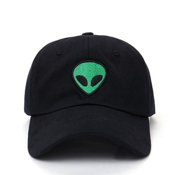 New 90s Grunge Alien Embroidered Adjustable Black Baseball Cap Snapback Hats