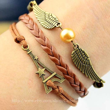 Antique bronze tower in Paris, France and the snitch bracelet, romantic charm bracelet, girls fashion jewelry, gifts, graduation gift