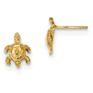 14k Yellow Gold Solid Dia.-Cut Shell Sea Turtle Post Earrings