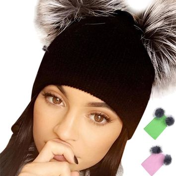 2017 Winter Autumn Fashion Women Knitted Beanies Ball Cap Warm Hat for Women Girl 's Hat New Thick Female Causal Hats