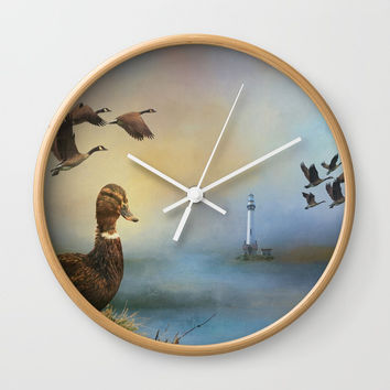 Lighthouse In Time Wall Clock by Theresa Campbell D'August Art