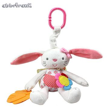 Abbyfrank Rabbit Baby Rattle Crib With Gutta-percha Soft Bunny Plush Doll Hanging Pram Toy Stroller Infant Baby Toys 0-12 Months