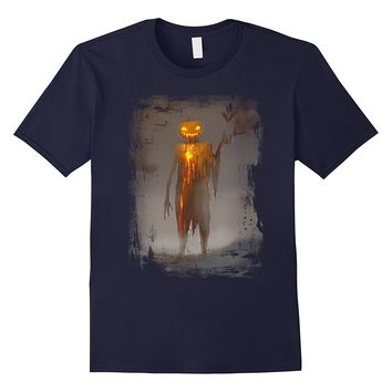 Devil Pumpkin Head T-shirt Funny Scary Halloween