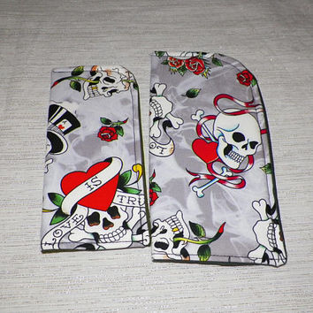 Love is True Slide in Sunglass Case or Eyeglass Case Skulls On Gray with Red Hearts Choose Your Size