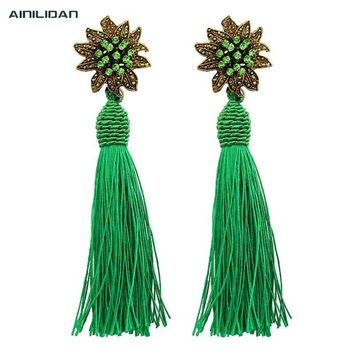 AINILIDAN Ethnic Style Bronze Flower Pattern Rhinestone Eardrops Ear Studs Handmade Nylon Thread Tassels Dangle Earrings