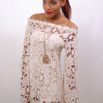 e79dbcefeb1 BELL SLEEVE crochet lace dress / off shoulder neckline / boho hippie  wedding mini DRE