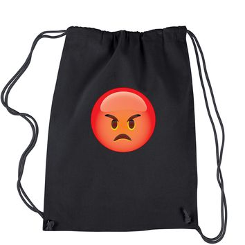 Color Emoticon - Red Angry Face Smiley Drawstring Backpack