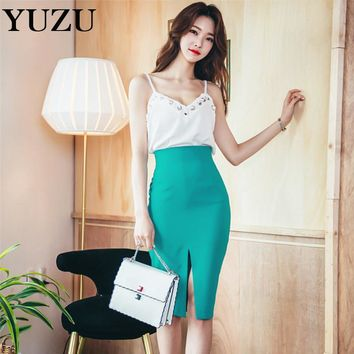 Summer Casual White Cross Lace Sling Vest 2 Piece Set Sexy Green Split Fitted Pencil Skirt For Women Office Dating Party Evening