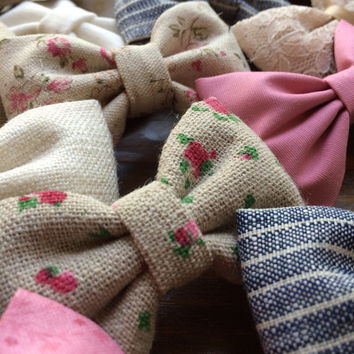 Linen rose, textured mauve, and off white Seaside Sparrow hair bows. Perfect gift for her!