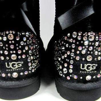 EXCLUSIVE - Swarovski Crystal Embellished Bailey Bow Uggs in Sparkly Night (TM) - Wint