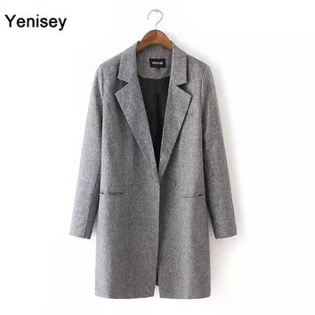 2015 Sale Bleiser Feminino Blazer Feminino Dj-65 And The Wind Are Long Sleeved Slender Slim Lady Lapel Suit Coat Jacket 0810