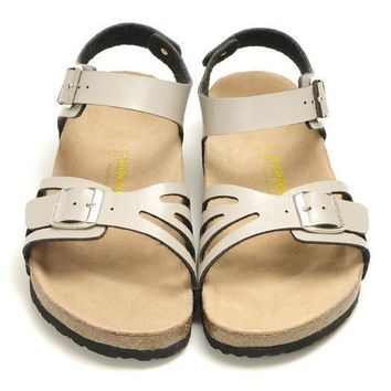 Birkenstock Leather Cork Flats Shoes Women Men Casual Sandals Shoes Soft Footbed Slippers-22