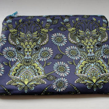 """Zipper Pouch for Coins, Knitting Notions, Toiletries, Cosmetics, Handmade with Tula Pink """"Deer Me"""" with Doe-Eyed Lining Indigo Blue"""