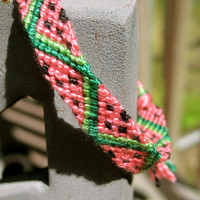 Watermelon Friendship Bracelet- with adjustable sliding knot