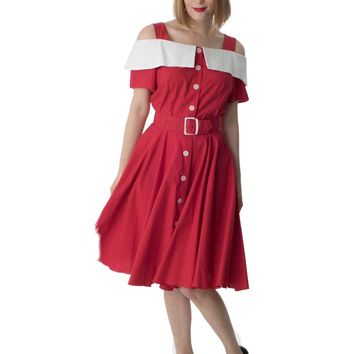 80s 50s Style Red Off Shoulder Swing Dress