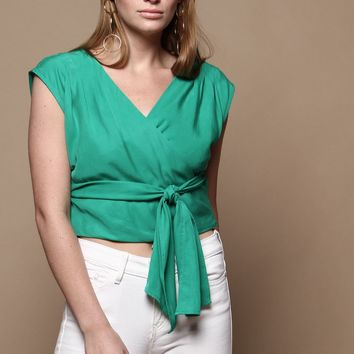 JOA Starla Sleeveless Top - Kelly Green