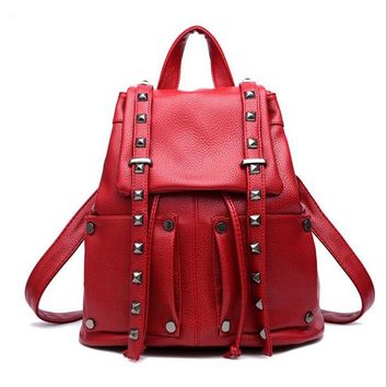 Fashion Rivet Women Backpack With  Women Leather Backpack