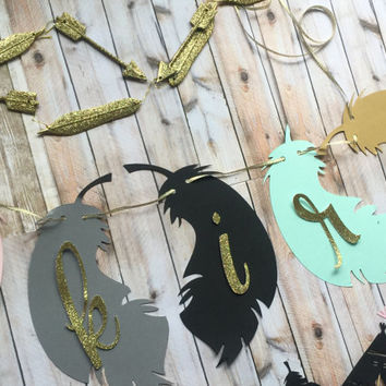 TRIBAL NAME BANNER for high chair~ wall ~ or birthday parties, feathers, teepee  and arrow tribal party decor. mint, gold, black and peach