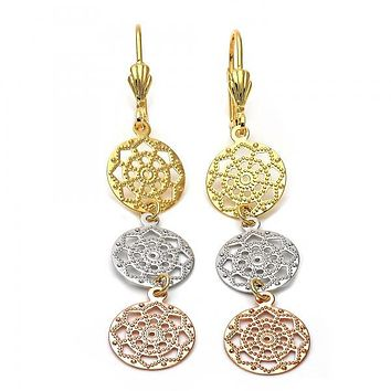 Gold Layered 5.104.002 Long Earring, Flower Design, Diamond Cutting Finish, Tri Tone