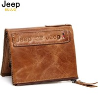 JEEP BULUO Genuine Leather Men Bifold Wallets Short Coin Purse Vintage Crazy Horse Cowhide Travel Wallet High Quality Brand 01