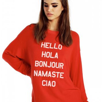 Say Hello To Everyone Roadtrip Sweater Dress