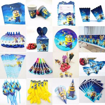 Minions party supplies Flags Tablecloth Straws Cups Plates Candy Popcorn Box Party Supplies Kid Birthday Party Decoration set